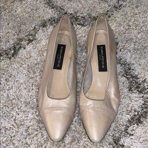 Evan Picone Leather heels-Taupe Cream Women's 10